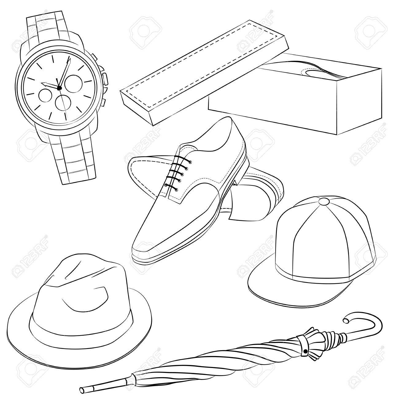 1300x1300 A Set Of Fashion Accessories. Men's Shoes And Accessories. Outline