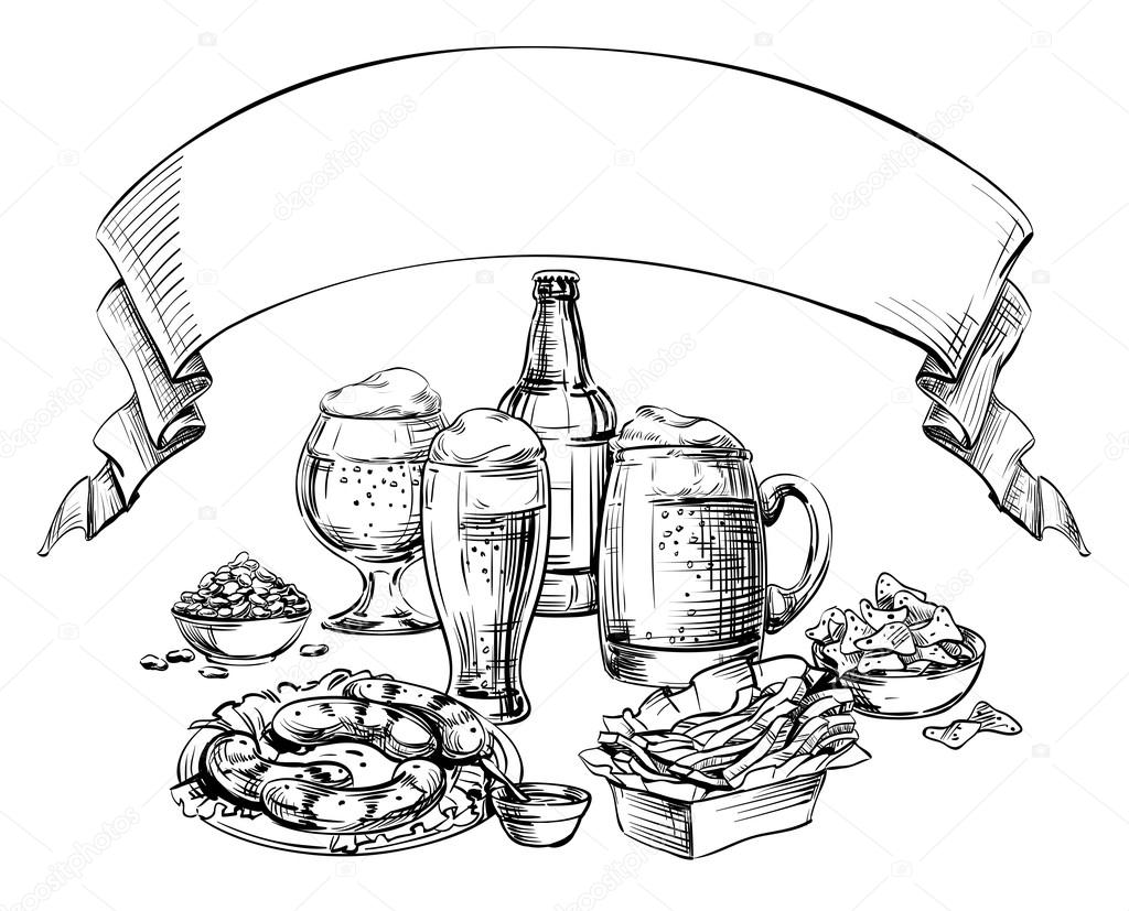 1024x827 Different Glass Mugs, Bottle, Cans Beer And Snacks With Curved