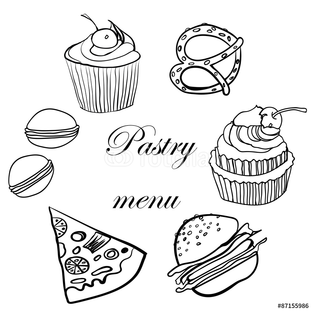 1000x1000 Tasty Menu Pastry Sketch Illustration Wall Sticker Wall Stickers