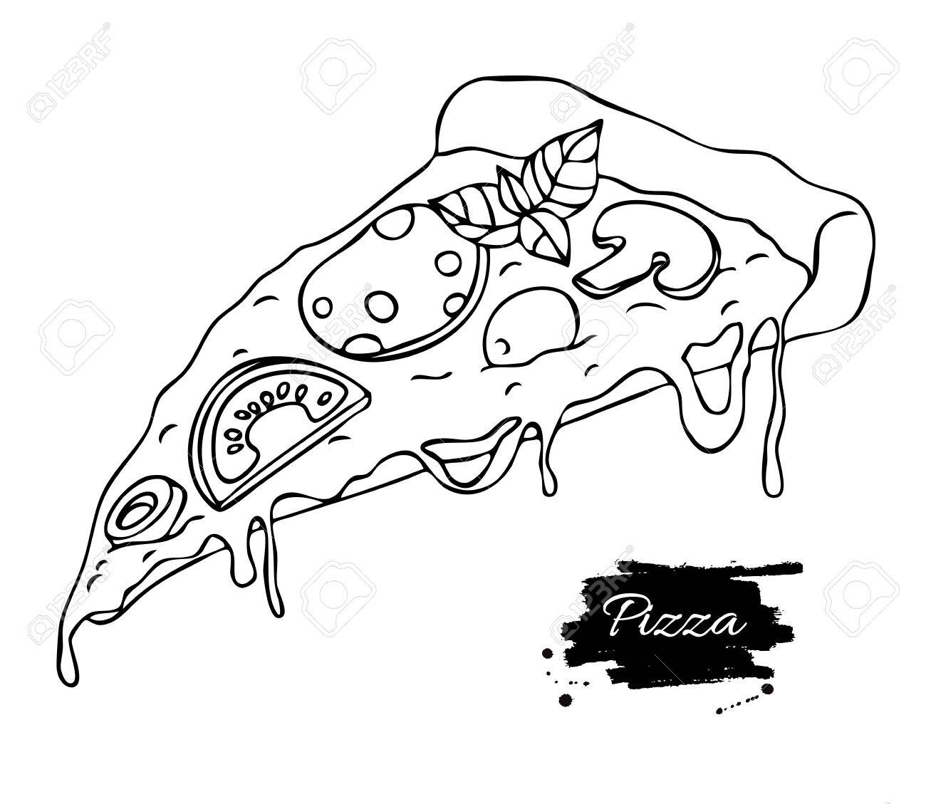 1300x1129 Vector Pizza Slice Drawing. Hand Drawn Doodle Pizza Illustration