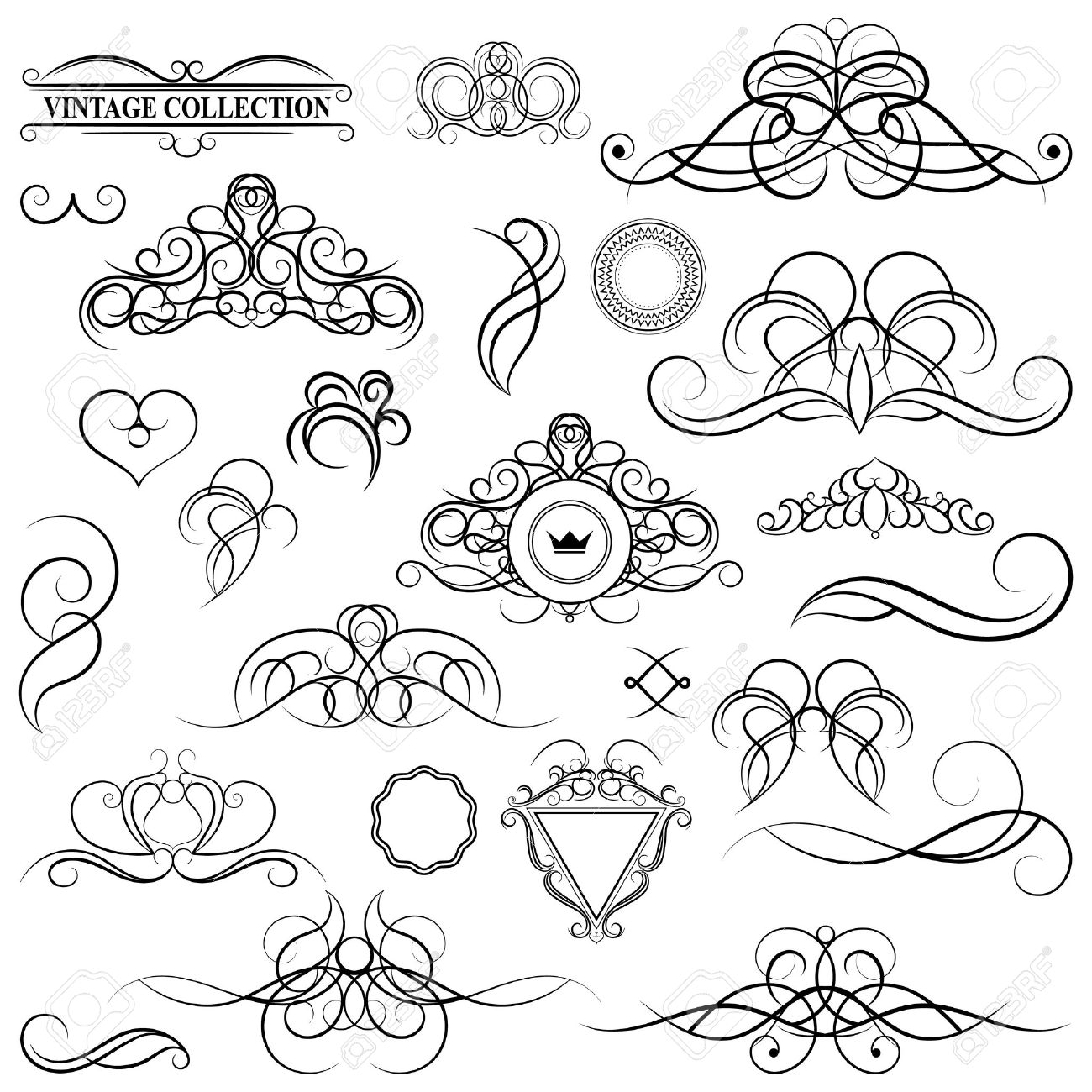 1300x1300 Vintage Set Decor Elements. Elegance Old Hand Drawing Set. Ornate