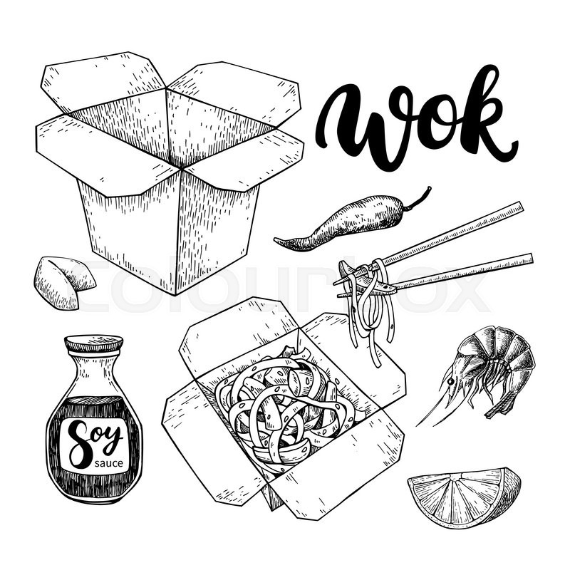 800x800 Wok Vector Drawing With Lettering. Isolated Chinese Box