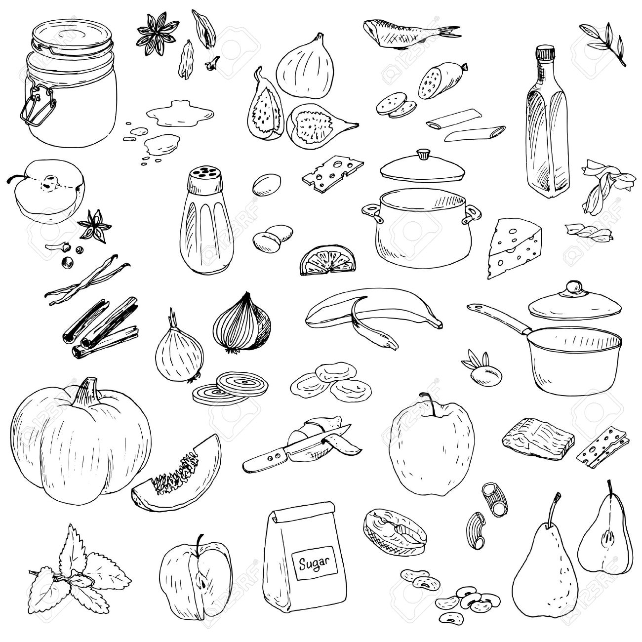 1300x1300 Food Line Drawings Sketches Recipes Drawings, Food