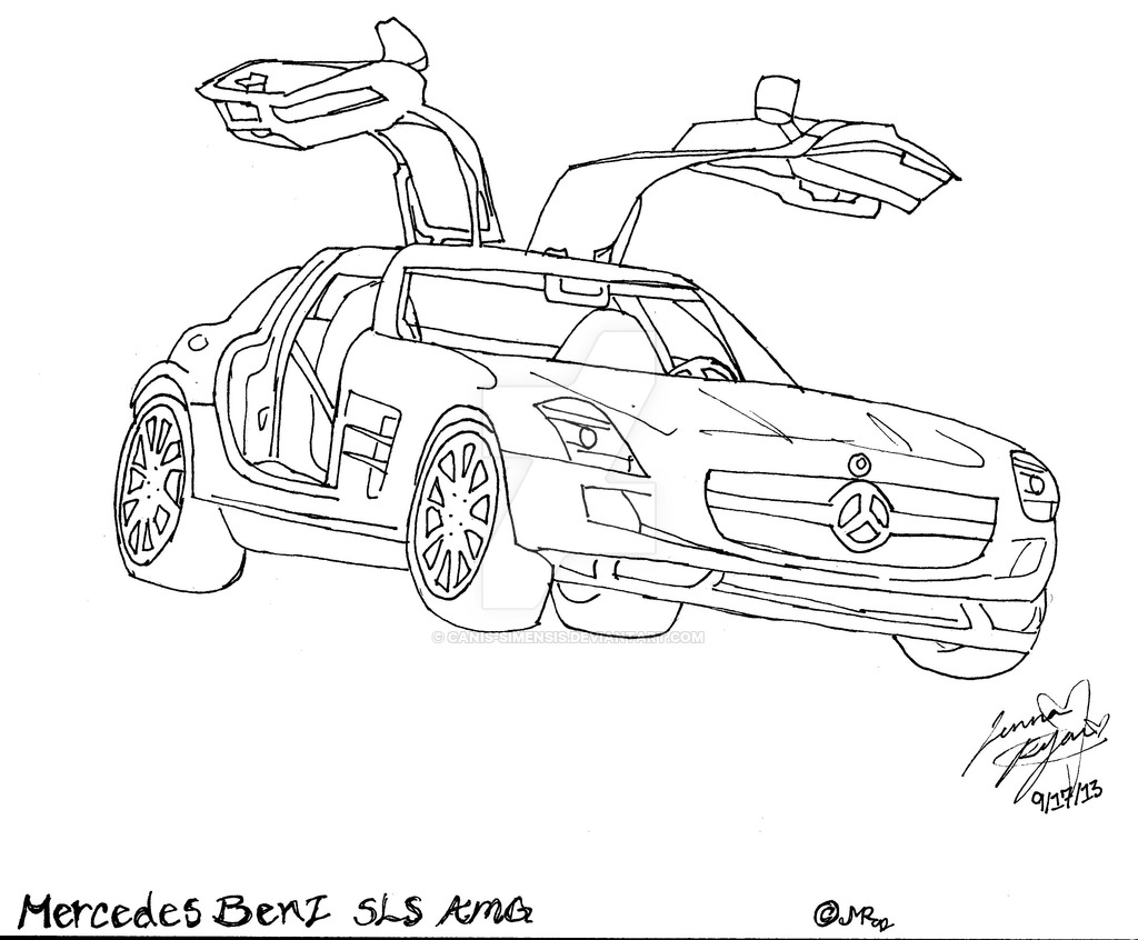 1024x846 Mercedes Benz Sls Amg Lineart By Canis Simensis