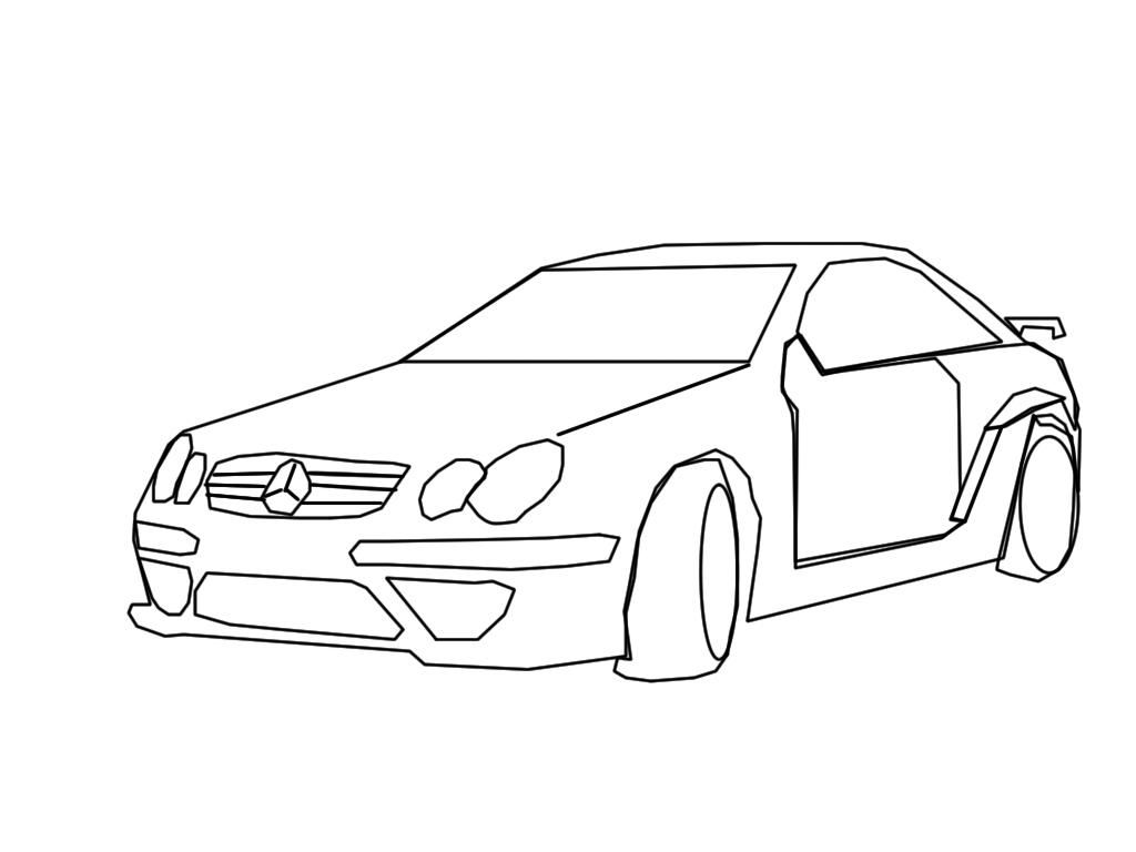 1024x768 Mercedes Clk Lineart By Googlememan