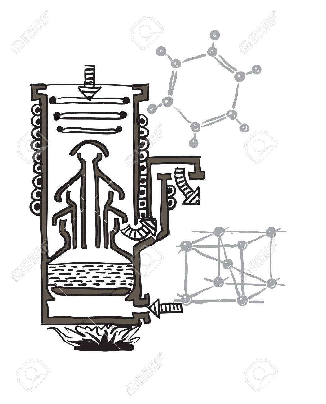 1052x1300 Drawing Scheme Of Mercury Vacuum Pump Stock Photo, Picture