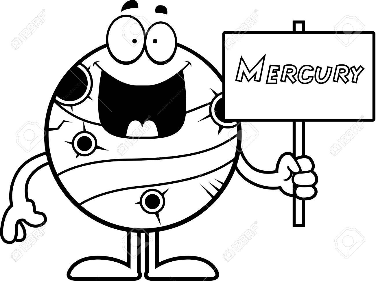 1300x973 A Cartoon Illustration Of The Planet Mercury Holding A Sign