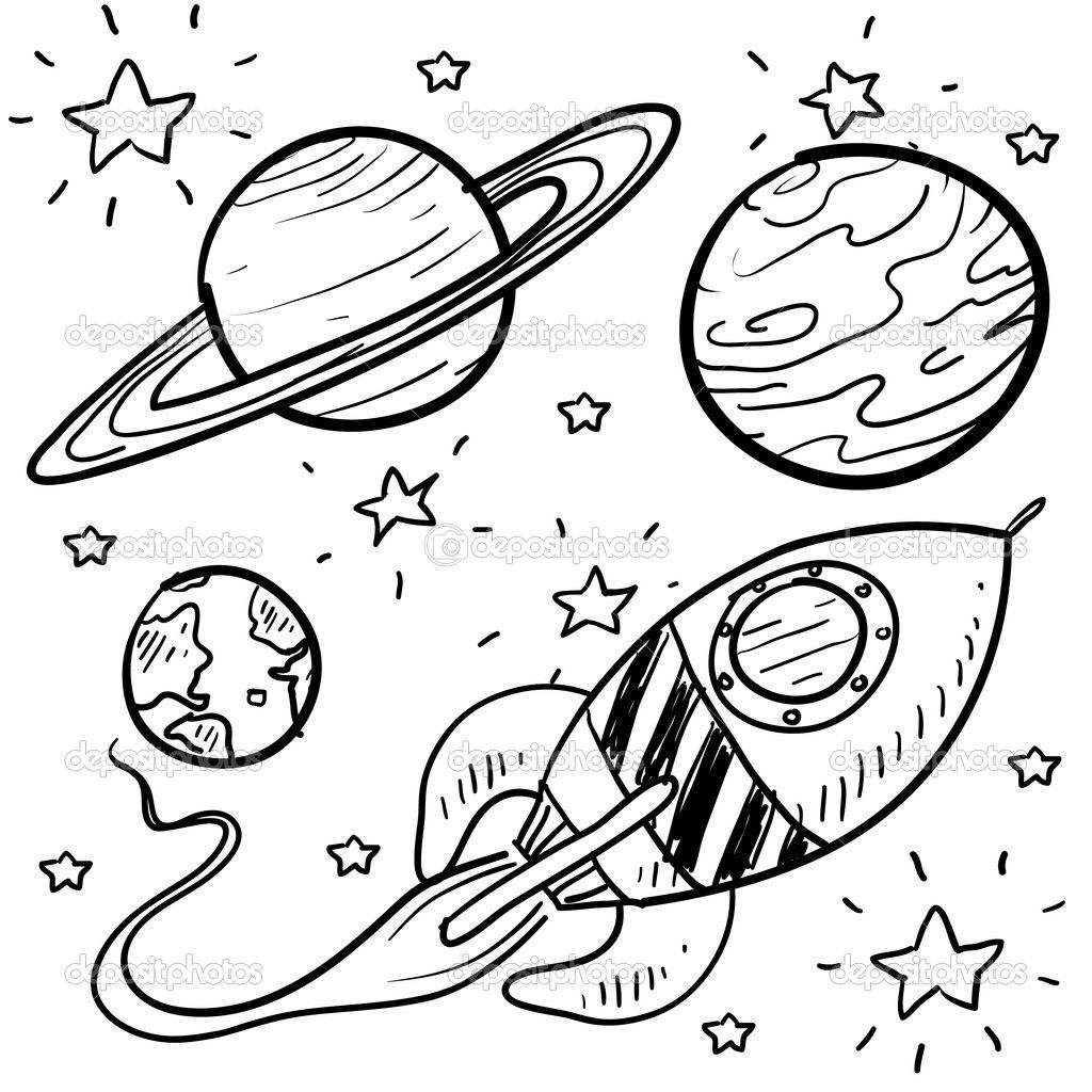 1024x1024 Planet Coloring Pages Planets Rocket Stars Outer Space