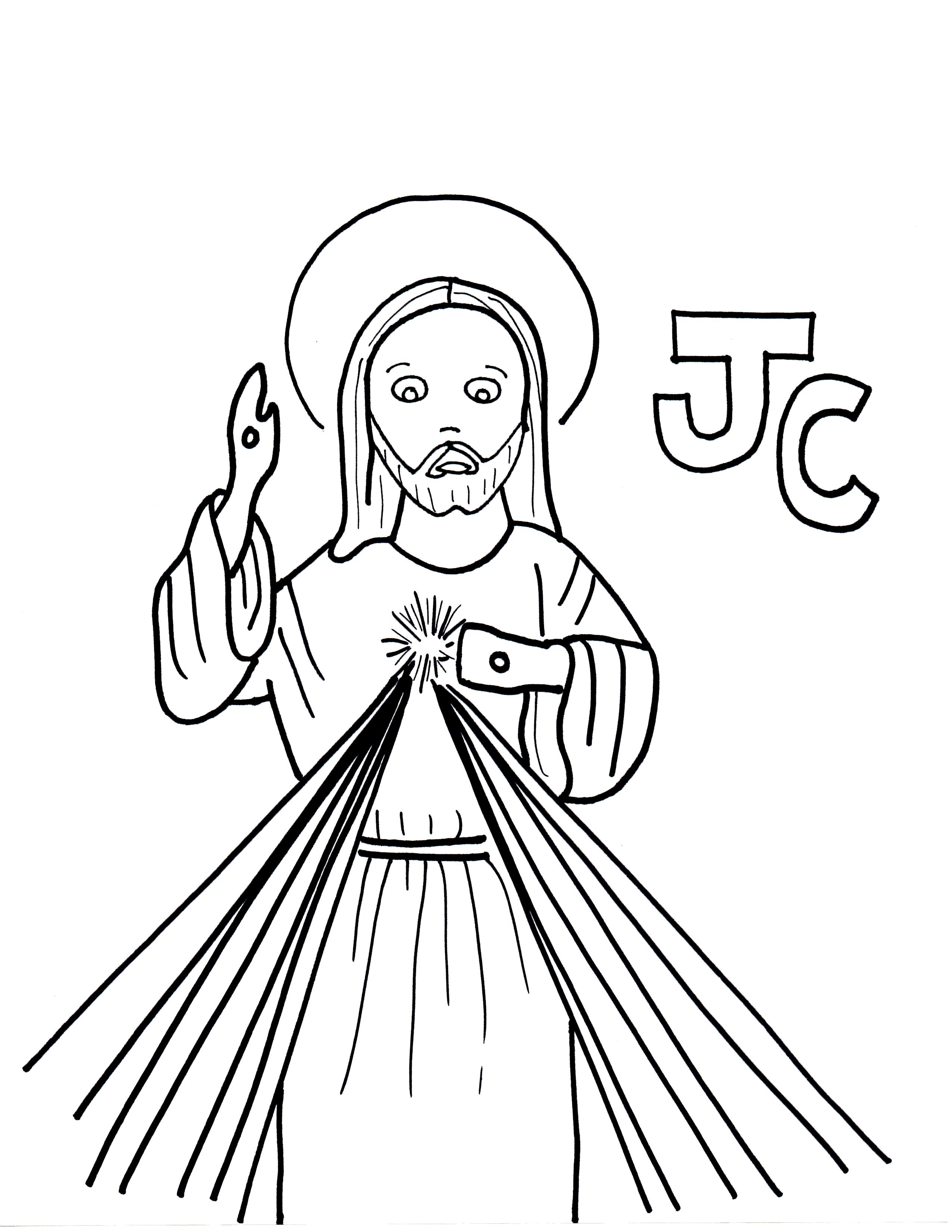 2550x3300 J Is For Jesus Christ, Lord Of Divine Mercy Saints To Color