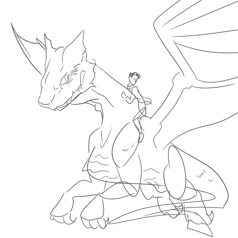 3000x3000 Merlin And Kilgharrah Sketch By Cameridan Hero