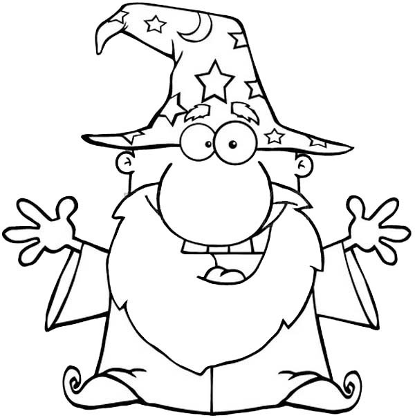 600x605 Merlin The Wizard, Outline Picture Of Merlin The Wizard Coloring