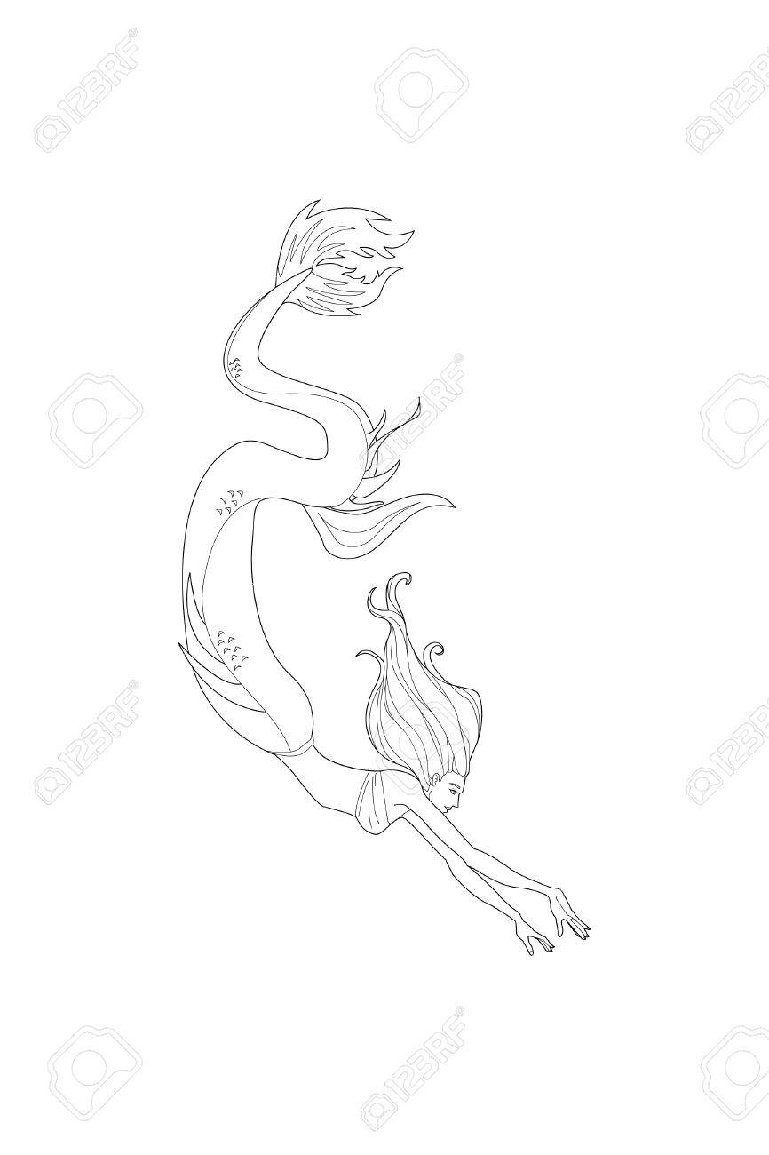 866x1300 Line Art Mermaid. Cartoon Mermaid Or Siren. Sea Theme. Drawing