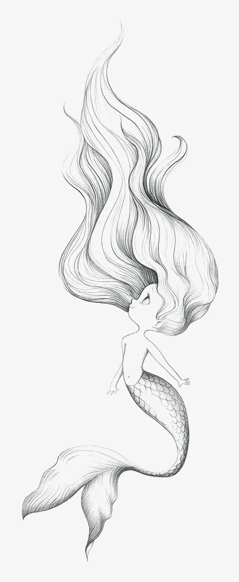 472x1147 Mermaid, Hand Painted Mermaid, Cartoon Mermaid, Creative Mermaid