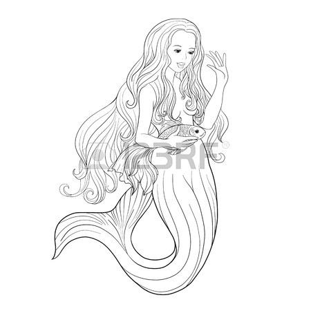 450x450 Line Art Mermaid. Cartoon Mermaid Or Siren. Sea Theme. Drawing
