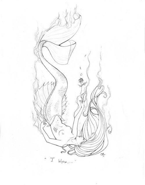 500x636 Mermaid Pencil Drawings Tags Mermaid Pencil Drawing How To Draw