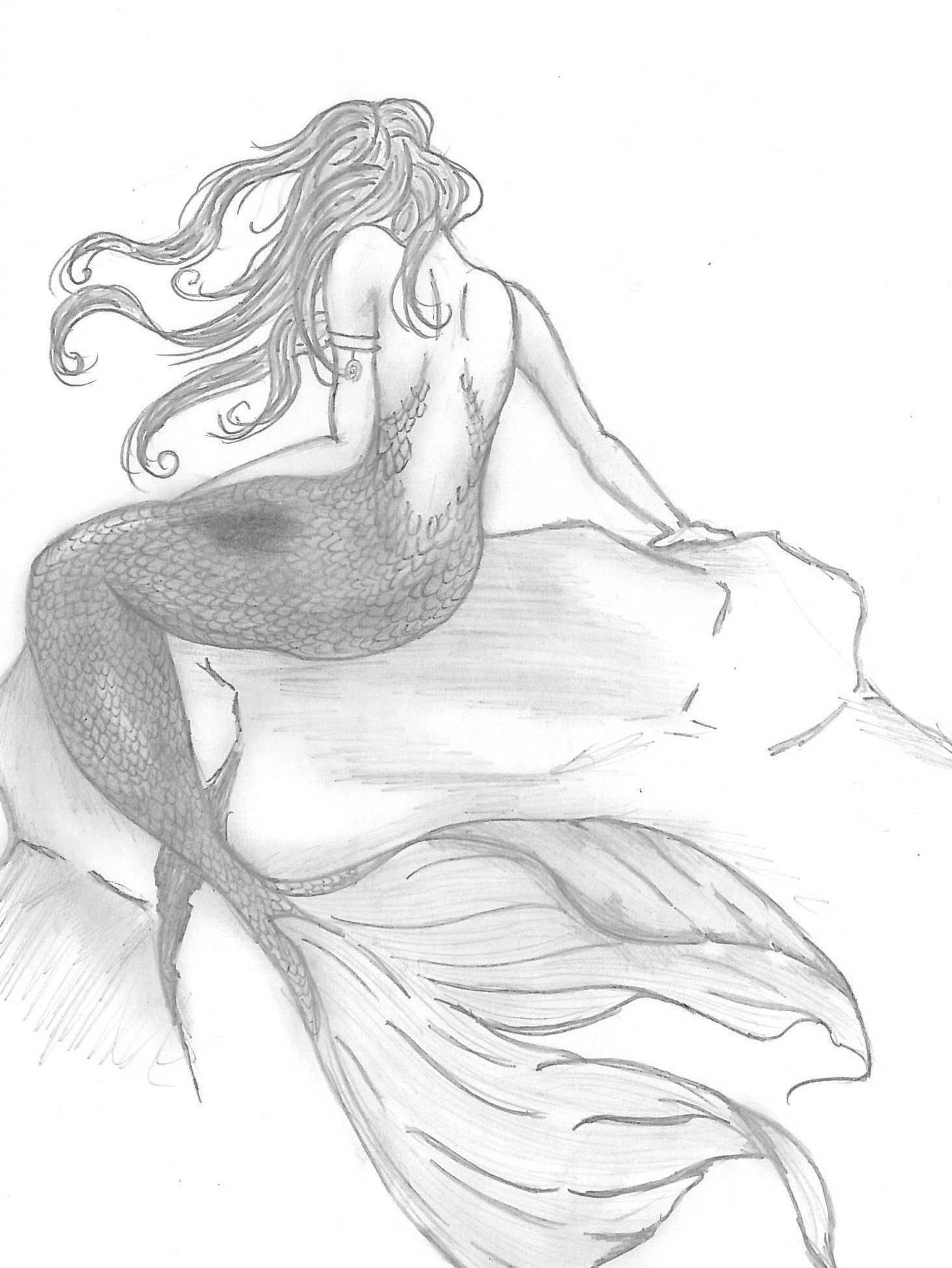 1464x1949 Mermaid On A Rock Pencil Drawing Mermaid Illustration