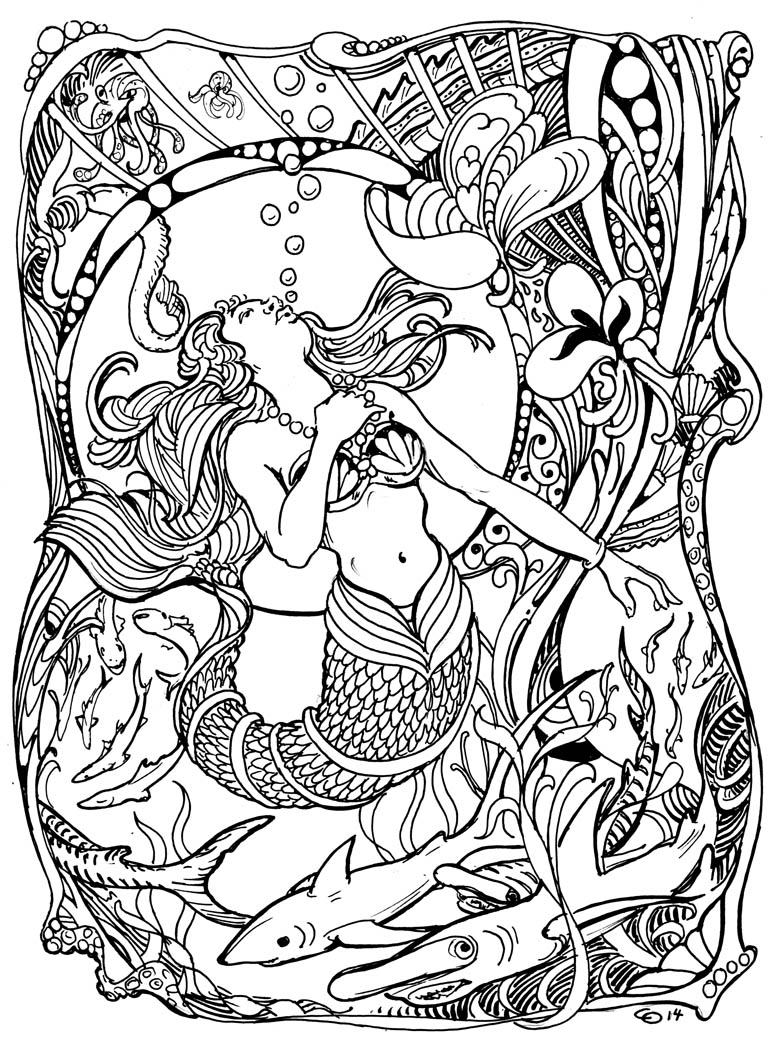 780x1047 Mermaid Sketch, Ink And Color Progression Home
