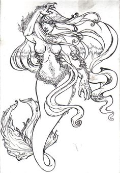 236x339 Mermaid Sketch By Iara Art On Adult Coloring Pages