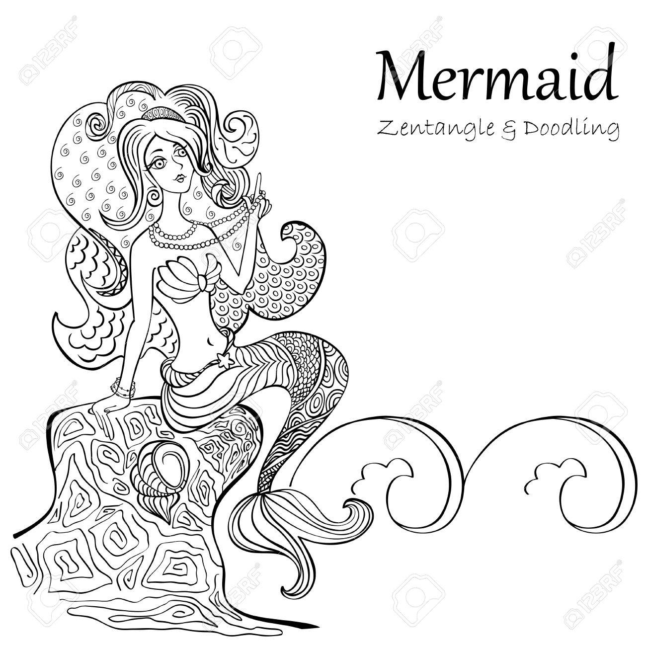 1300x1300 Mermaid Black And White Patterns Isolated On White Background