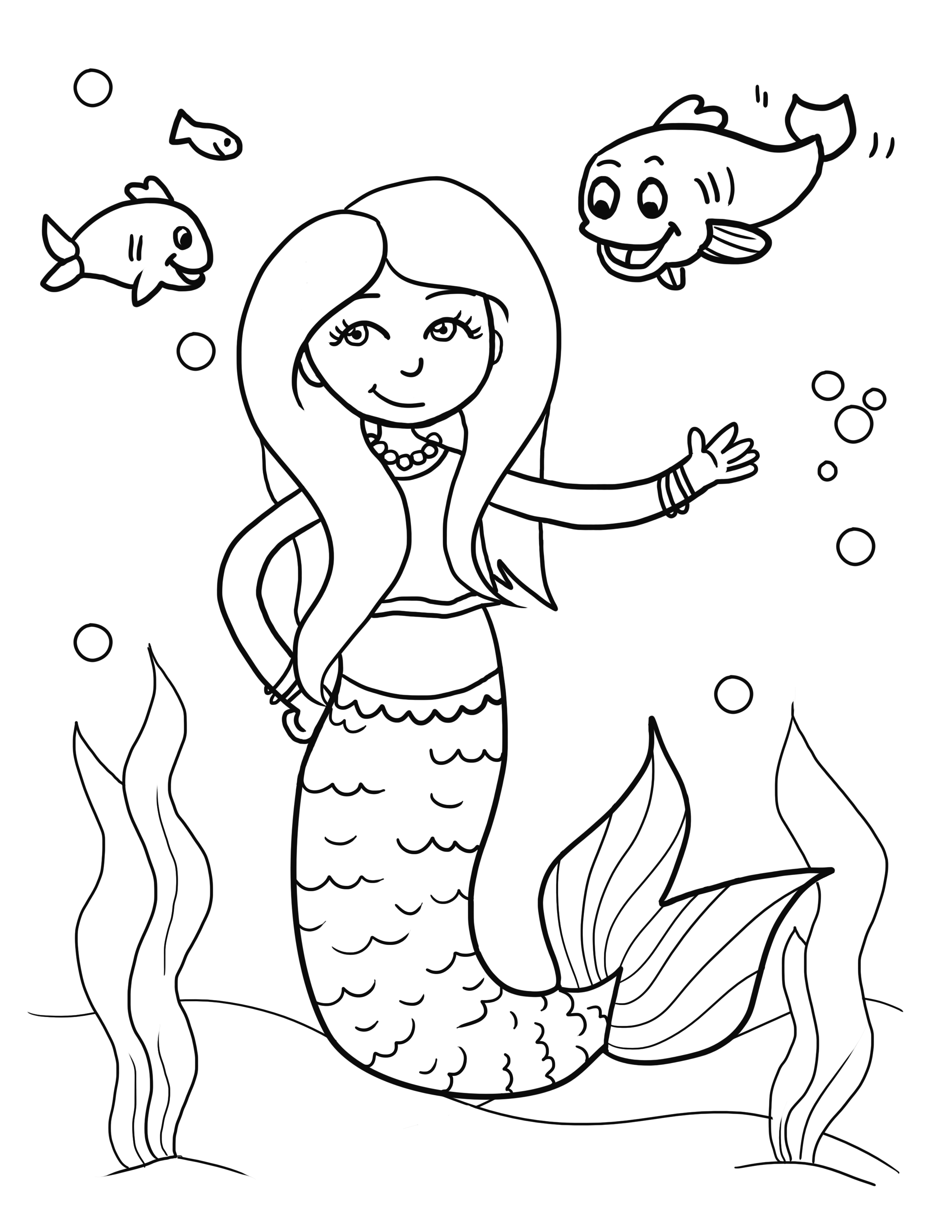 2550x3300 Step 9. Copic. Mermaid Coloring Pages Drawing For Kids Free Kids