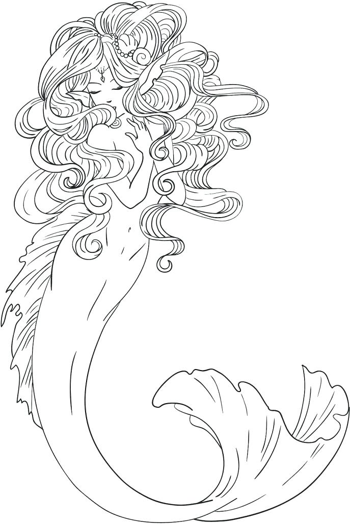 687x1028 Mermaid Coloring Pages Online Medium Size Of Mermaid Coloring