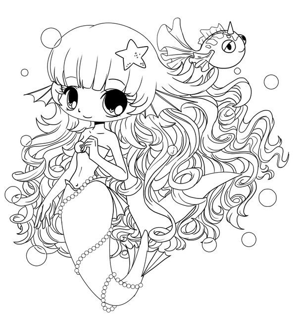 600x637 Chibi Coloring Pages Chibi Mermaid Colouring Pages Coloring