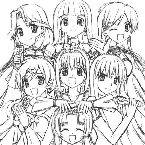 500x500 7 Mermaid Melody Idols Outline By Lovelyluchia