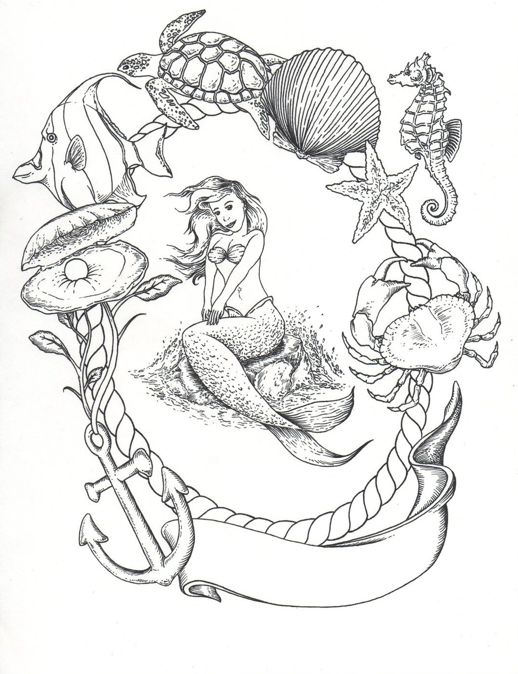 Mermaid Drawing Pictures At Getdrawingscom Free For Personal Use