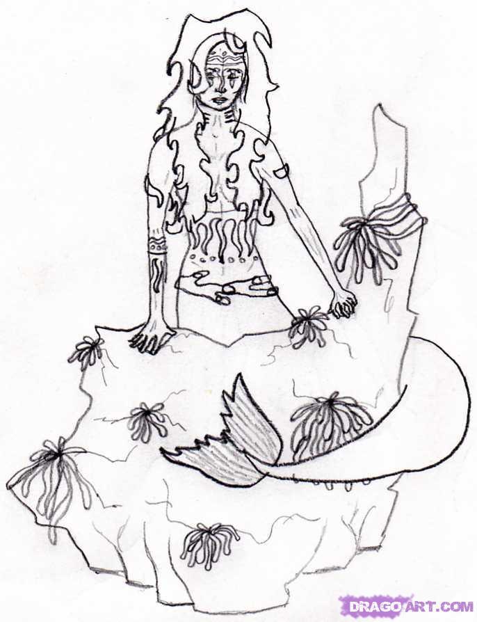 686x894 Drawn Mermaid Rock Drawing