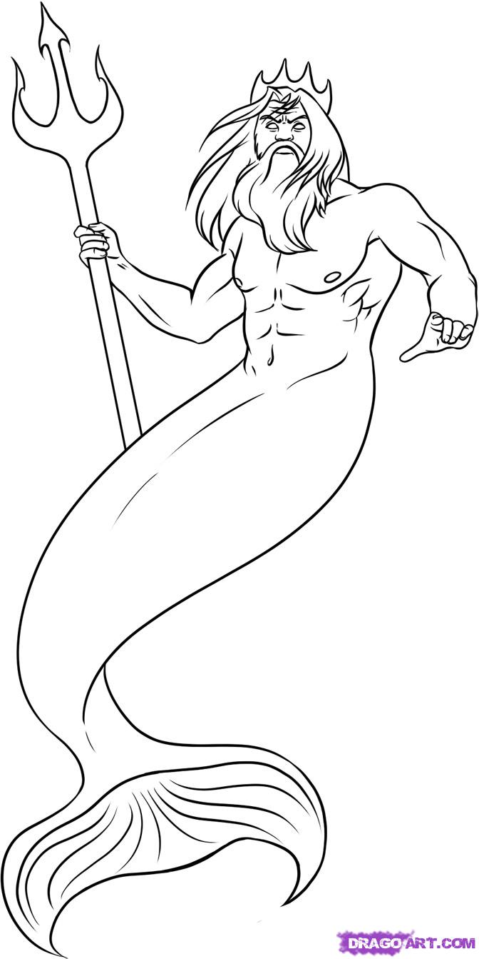 672x1343 How To Draw Poseidon From The Animated Film The Little Mermaid