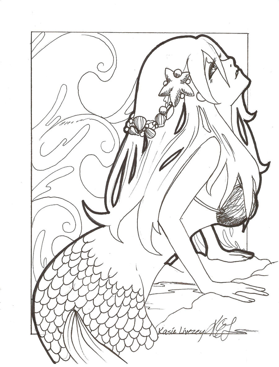 900x1183 Easy Anime Mermaid Coloring Pages