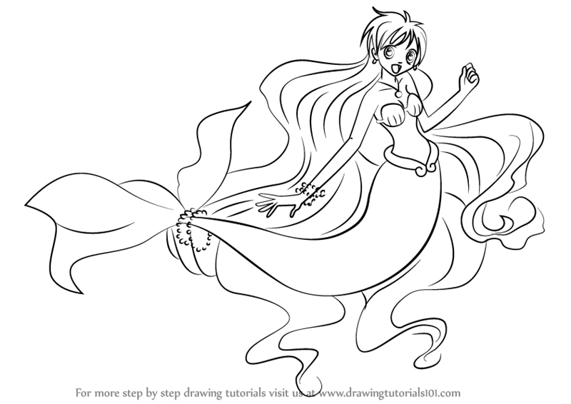 800x566 Learn How To Draw Hanon In Mermaid From Mermaid Melody (Mermaid