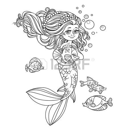 450x450 Cute Happy Little Mermaid Girl Outlined Isolated On A White