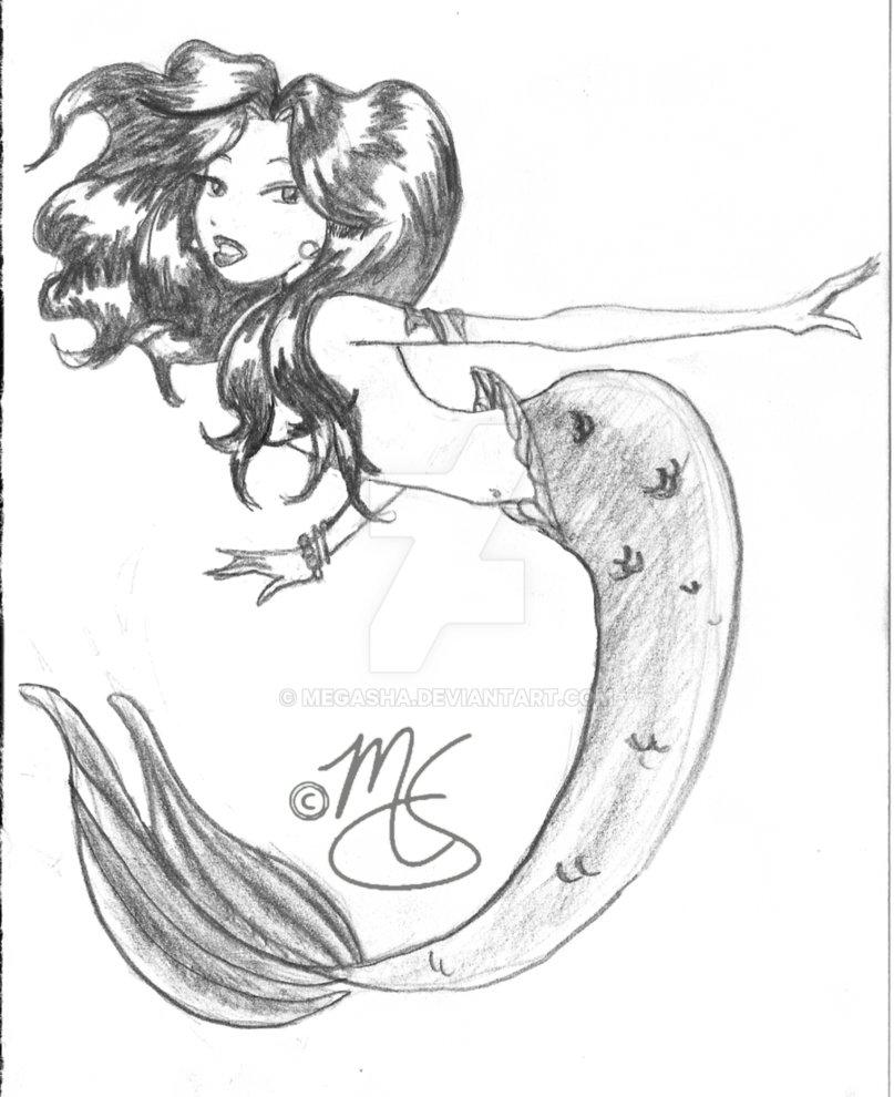 807x990 Mermaid Sketch By Megasha