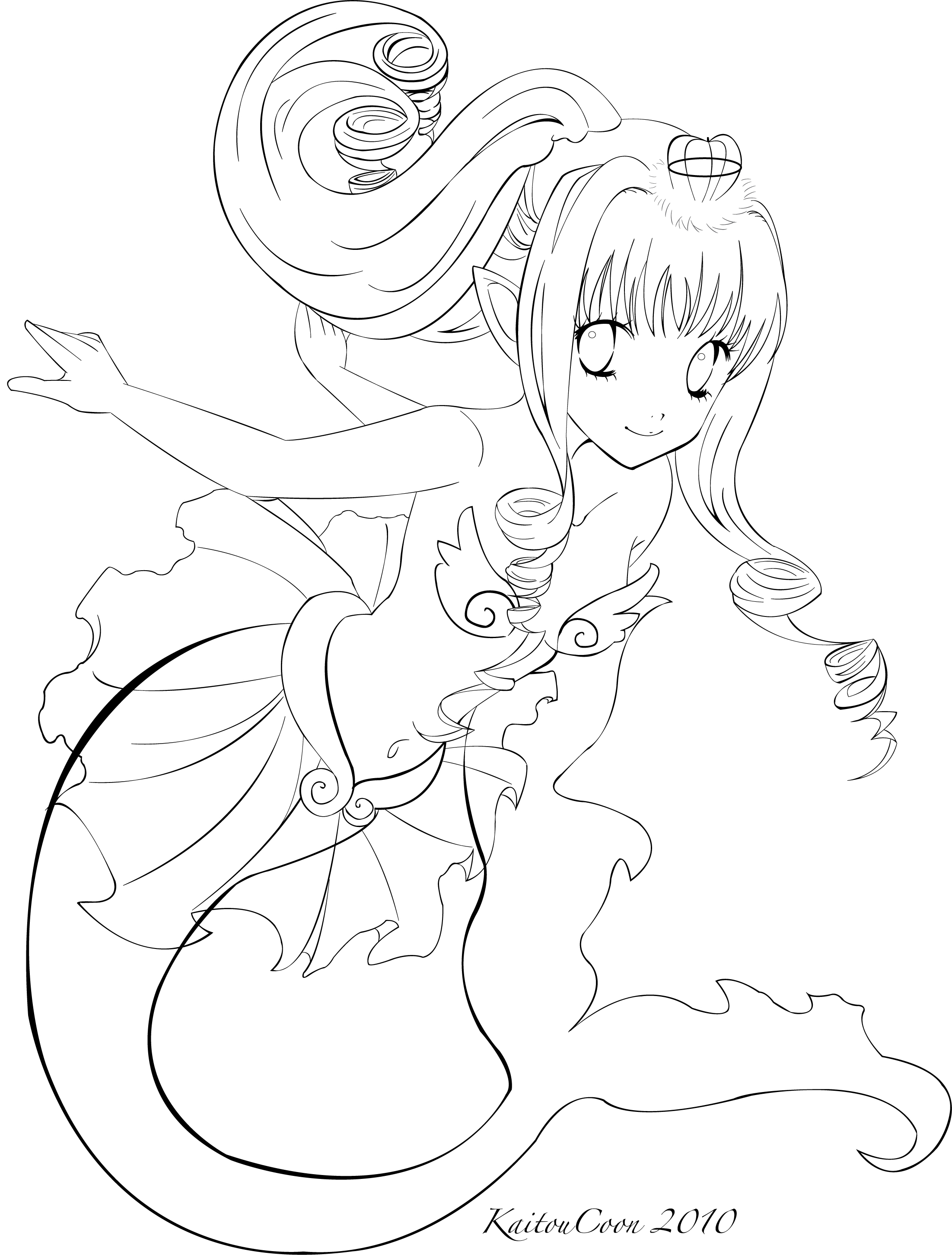 2203x2903 Mermaid Trade Lineart By Kaitoucoon Line Art Mermaid