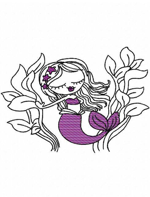 489x640 Swirly Mermaid 1 Sketch Embroidery Design