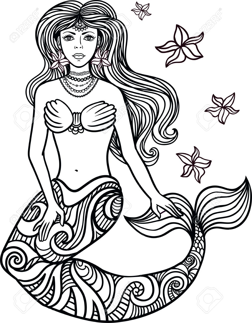1012x1300 Hand Drawn Beautiful Artwork Mermaid With Curly Hair, Algae