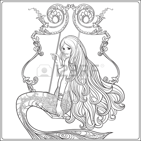 450x450 Hand Drawn Mermaid With Long Hair In Underwater World. Stock