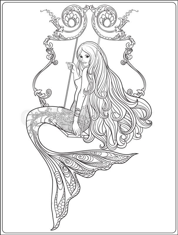 606x800 Hand Drew Mermaid With Long Hair. Stock Line Vector Illustration
