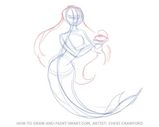 550x437 How To Draw Mermaids