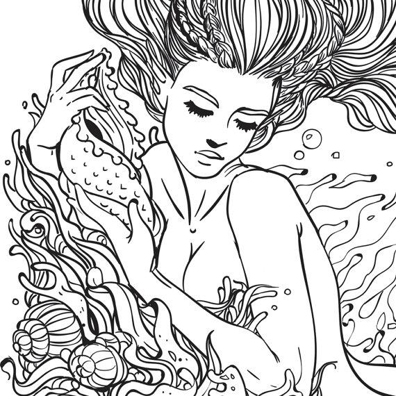 Mermaid Line Drawing