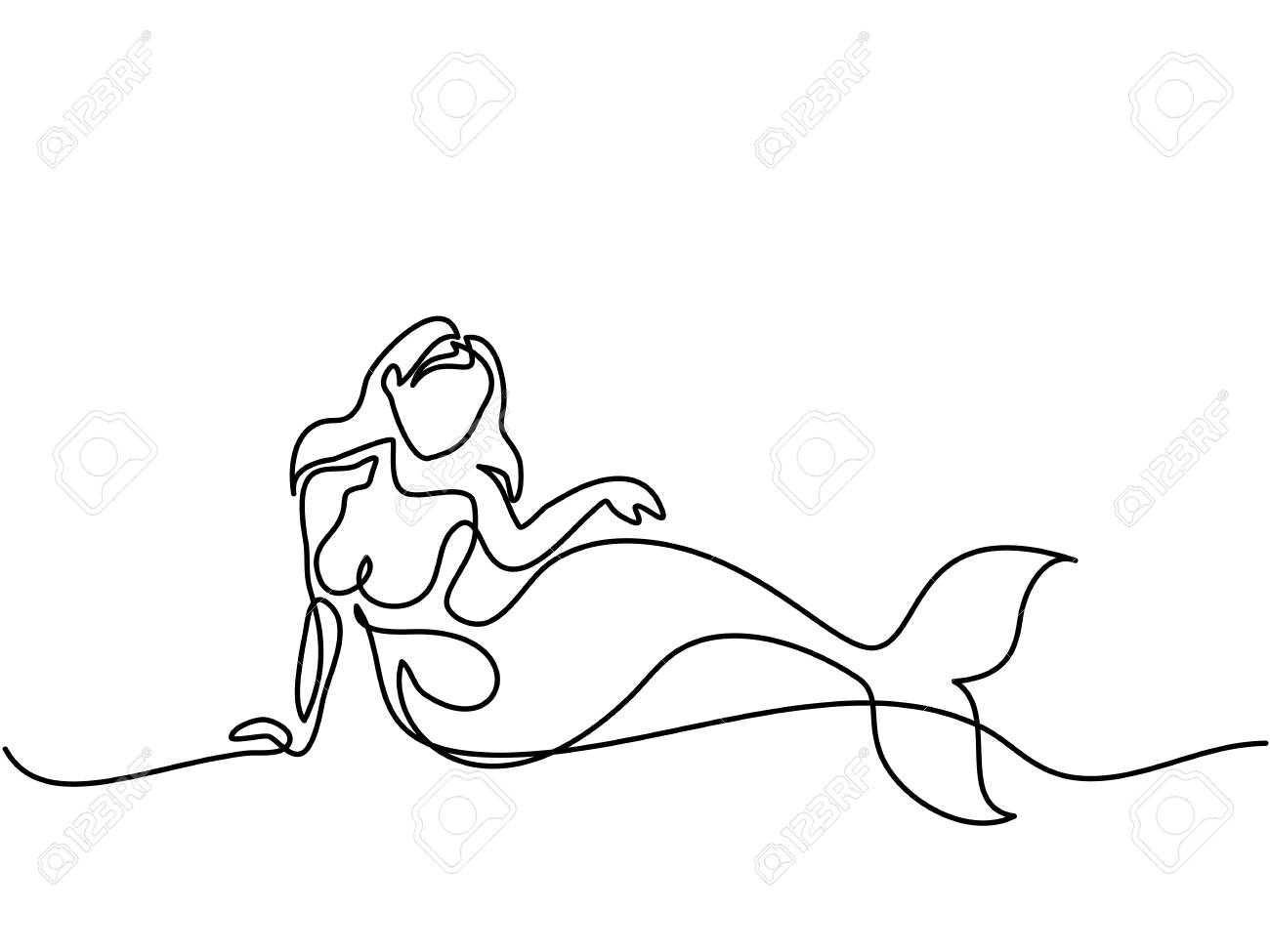 1300x975 Mermaid Laying And Dreaming On The Beach. Continuous Line Drawing