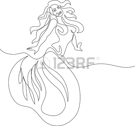 450x420 Mermaid Sitting And Dreaming On The Beach. Continuous Line Drawing