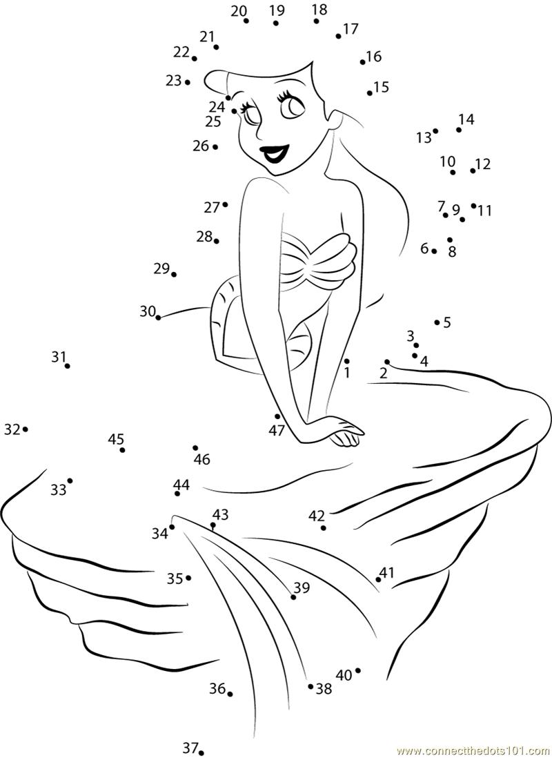 800x1098 Ariel Sitting On Rock Dot To Dot Printable Worksheet