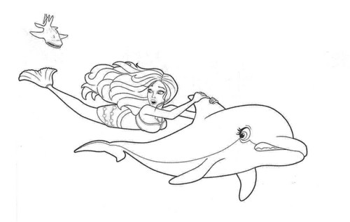 500x317 Girls Coloring Pages Barbie Mermaid And Dolphin