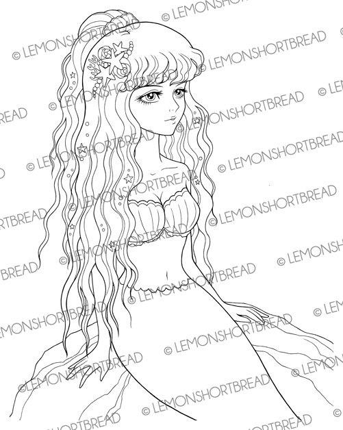 501x628 Mermaid On A Rock Digital Stamp Shoujo Digistamp By