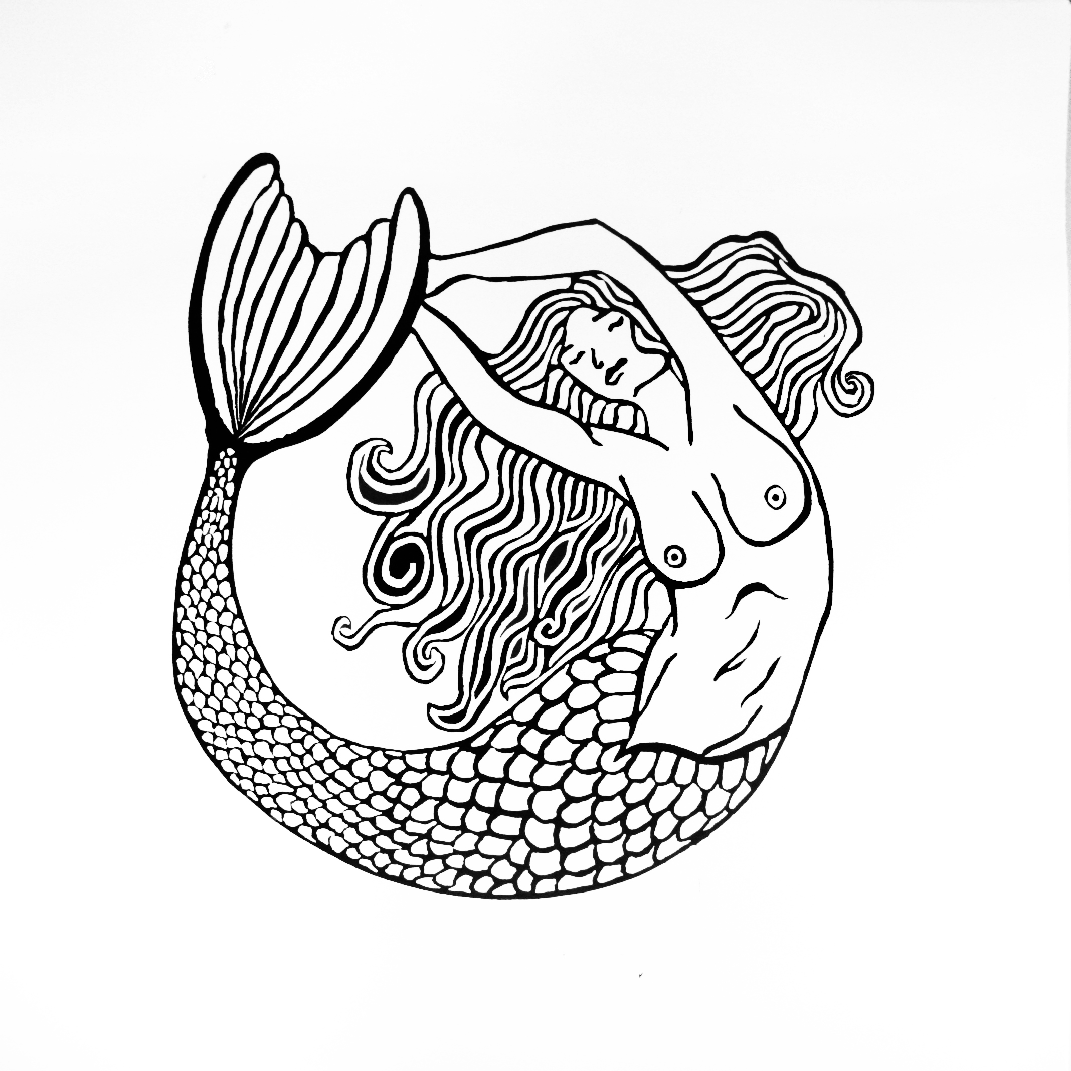 2136x2136 My Mermaid Lino Print Ideje Mermaid And Sharpie Art