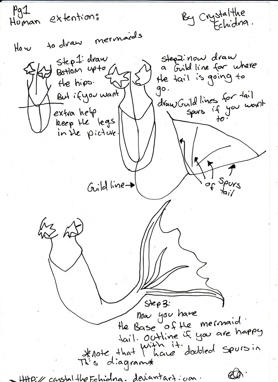 900x1238 How To Draw Mermaids 1 By Crystaltheechidna