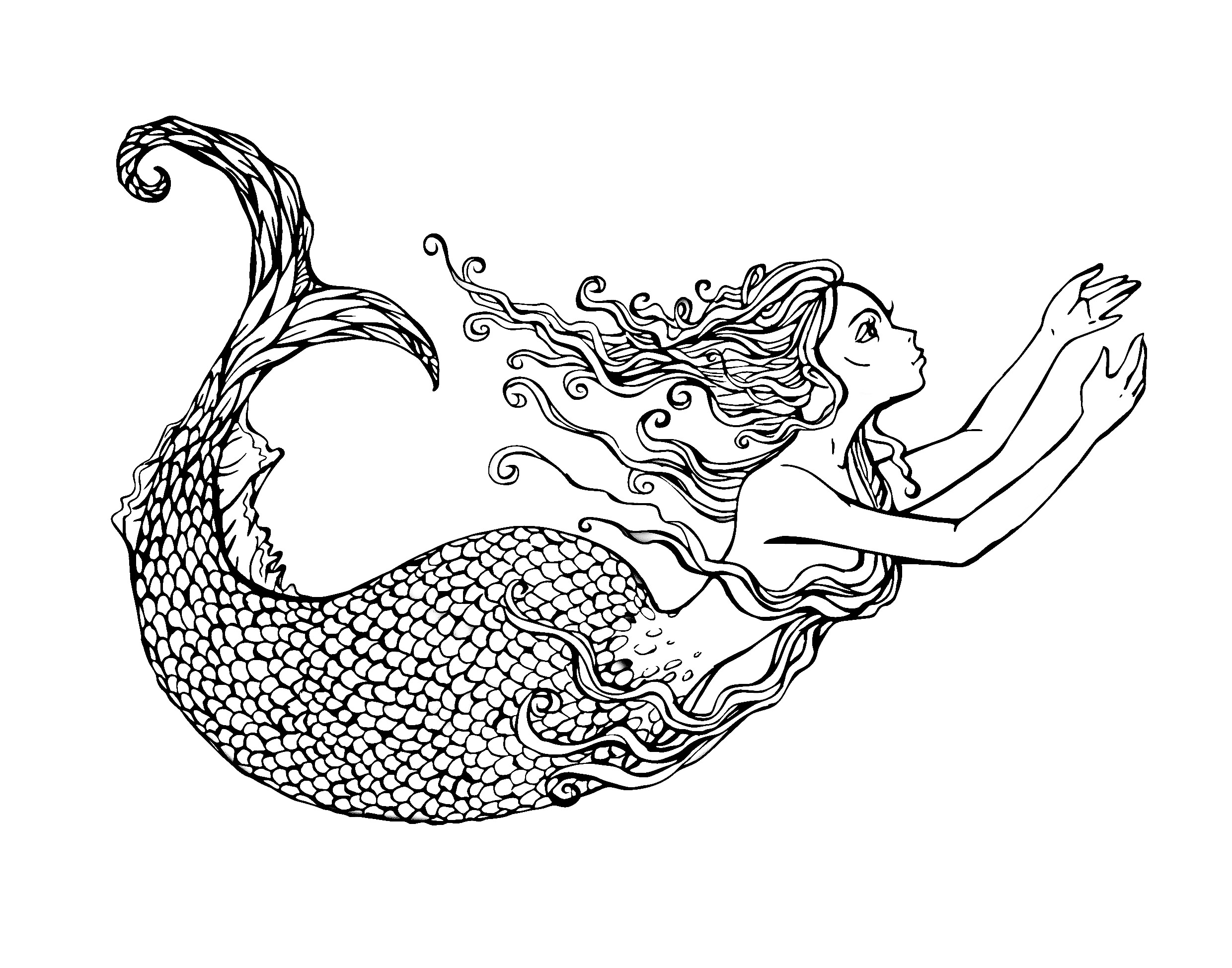 2480x1949 Drawings Of Mermaids Swimming Anime Mermaid Drawings