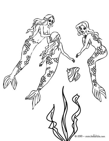 363x470 Group Of Lovely Mermaids Swimming Coloring Pages